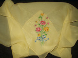 Vintage 1940's 1950's Silk Chiffon Scarf Petit Point Embroidery
