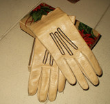 Antique Victorian Edwardian  Christmas Box With Children Leather Gloves