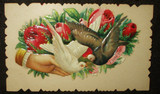 Antique Ephemera Dove Rose Victorian Embossed Calling Card