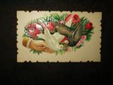 Antique Ephemera Dove Rose Victorian Embossed Calling Card
