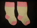 Victorian Pair Hand Knitted Wool Baby Stockings Hosiery