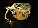 Victorian Antique Raffia Silk Lined Sewing Trinket Basket W Ribbon Bells