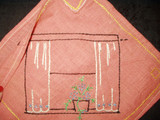 1920 Vintage Embroidery Kitchen  Hot Pad Pot Holder Pocket