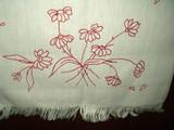 Victorian 1900's Turkey Redwork Table Runner Embroidery Daisy Flower