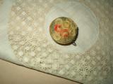Vintage Celluloid Molded Flower Basket Cloth Sewing Tape Measure