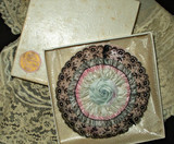 Antique 1920s Lace Ribbon Rosette Lace Powder Puff  In Box