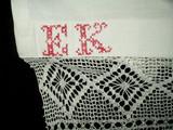 Antique Victorian Bed Sheet Redwork Embroidery Initals Crochet Trim