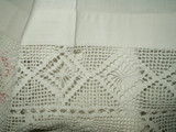 Antique Victorian Bed Sheet Redwork Embroidery Initals Crochet Trim