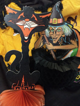 Sneak Preview ~ Spooky Vintage Halloween Costume Wicked Witch Black Cat Decorations