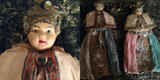 What Fun ~ A Pair Asian Oriental 1920s Sewing Doll Pincushion Composition Head Painted Features
