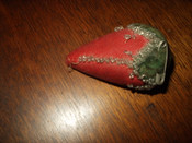Antique Victorian Wool Velvet Beaded Strawberry Sewing Pincushion