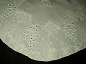 "Victorian Edwardian 27"" Mountmellick Embroidery Table Doily M Monogram"