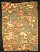 Victorian Small Doll Quilt With Figural Back Of Cows House