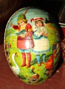 Antique Vintage 1920 German Paper Mache Easter Egg Children Animals