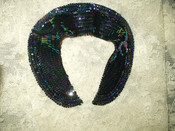 Vintage 1950s Iridescent Sequin Beaded Peter Pan Dress Collar Made In France