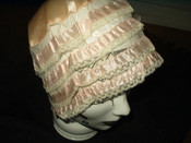 Peach Silk Lace Ribbon Lingerie Bed Bonnet Vintage 1920s Flapper Boudoir