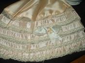 Peach Silk Lace Ribbon Lingerie Bed Bonnet Vintage 1920s Flapper Boudoir