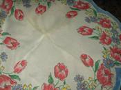 Vintage Mid Century 1950 Sheer Nylon Handkerchief Hankie Tulip Border