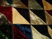 Victorian 1890 Crazy Quilt Gorgeous Velvet  Fabrics Embroidery Blanket Stitch