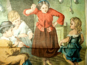Vintage 1880 Chromolithograph Printed Handkerchief Learning To Dance