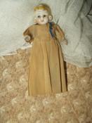 Vintage 1920 Bisque Doll Movable Hands Legs Crepe Paper Dress Japan