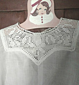 1930 Toddler Girl Dress Vintage White Cotton Filet Crochet Lace Yoke