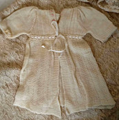 Vintage 1930s Knit Doll Sweater Cream Wool Embroidery Rosette Ribbon