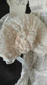 Vintage Doll Dress Bonnet Home Sewn 1930s Dotted Swiss Ruffles  Lace Trim