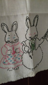 Vintage Embroidery Dressed Bunny Rabbits Towel Runner Unfinished