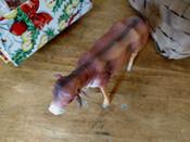 Germany Putz Stick Leg Bull Cow Paper Mache Christmas Nativity Scene  1920s