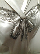 1930s Wedding  Formal Evening Party Long Satin Dress Beads Rhinestone Bow Bodice
