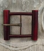 Vintage 1930s Belt Buckle Bakelite or Plastic Cylinder Art Deco Style