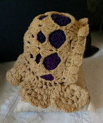 Victorian Doll Wool Winter Bonnet Hand Crochet Purple Lining