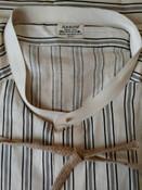 Vintage Men Old Stock Arrow Collarless Shirt Cotton White Black Stripe