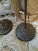 2 Embossed Cast  Metal Hat Stand Holders Vintage Edwardian 1920s Millinery