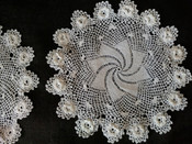 2 Irish Crochet Doily Vintage Table Linens Swirl Crochet Lace Center