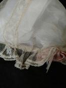 Antique Tulle Net Lace Baby Doll Cap Hat Bonnet Silk Pink Ribbon 1920s