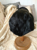 Ermine Vintage Hat Child Black Fur Head Tails 1930s 1940s