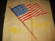 1900s Americana  Old Glory Flag Stamped Motto Unfinish Pillow To Embroidery