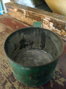 Tin Handle Cup Primitive Americana My Girl Green Paint Gold Stencil 19th Century Victorian Toleware