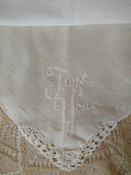 Vintage Embroidery Thank You Handkerchief Crochet Edge Corner Hankie
