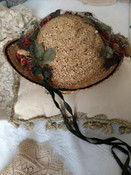 Brim Natural Straw Hat 1930s Flock Fowers Straw Pinecone Velvet Ribbon Trim