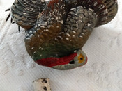 Antique Composition Turkey Candy Container Metal Feet Early 1900s