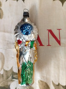 Vintage Indian Christmas Tree  Ornament Headdress Pipe Mercury Glass