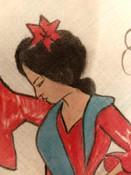 Vintage 1940s Handkerchief Spanish Senorita Dancer Souvenir Hankie