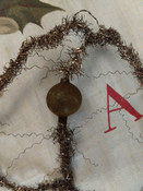Victorian 1900s Gold Tinsel Christmas Ornament Twisted Wire Glass Ball