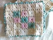 2 Vintage Hot Pad Holders Trivet Mat Hand Crochet  Aqua Pink 1950 1960s