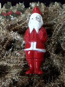 Christmas Red Celluloid Santa Vintage 1930 1940 Standing Sack Over Shoulder