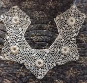 Vintage Irish Crochet Collar Hand Made Lace Dress Costuming