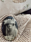 1920s Celluloid Photo Pocket Mirror Antique Vintage Bride